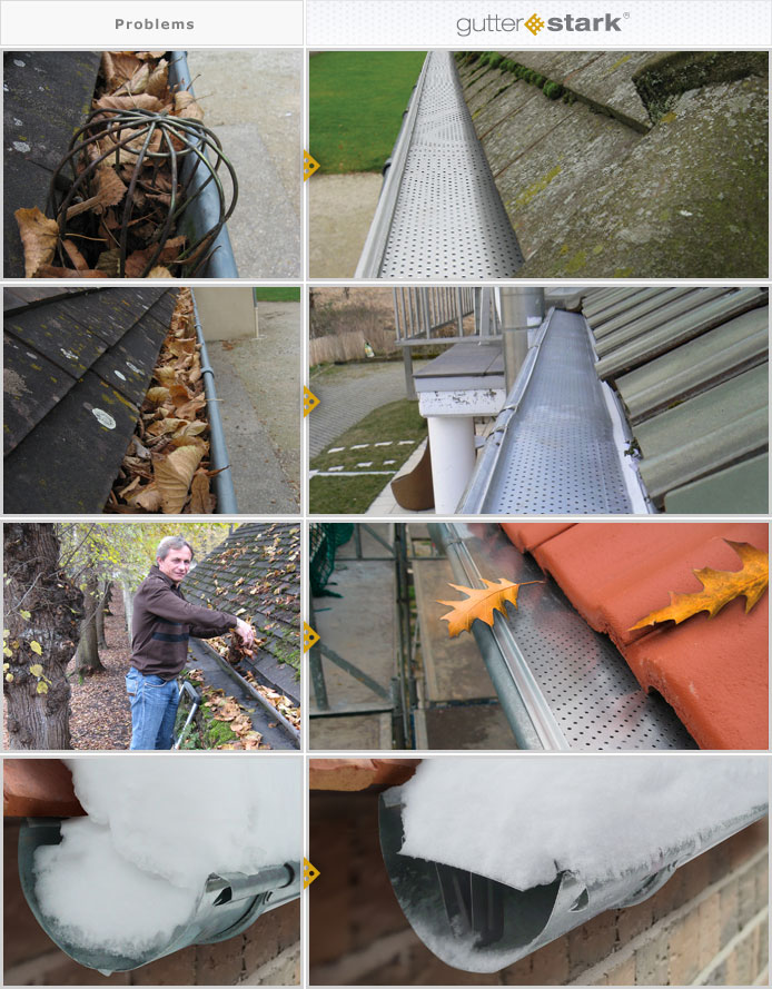 Gutter, eavestrough, leaf guard, gutter guard, clogged gutter, gutter-stark, Germany, Luxembourg, Belgium, Netherlands, Holland, France, Spain, Switzerland, Austria, Half-round, half-round gutter, u-shape